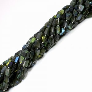 Natural Flashy Labradorite 9-14mm Faceted Tumble Beads 13 Inch Strand