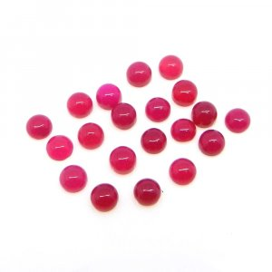 Natural Fuchsia Chalcedony 4mm Round Cabochon 0.25 Cts