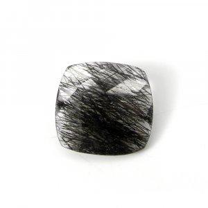 Natural Gemstone Black Ruitle Quartz 19x19mm Cushion Checker Cut 15.75 Cts