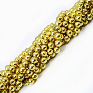 Natural Golden Pyrite 8-10mm Roundel Faceted Beads 10 Inch Strand