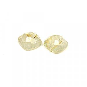 Natural Golden Rutile 12mm Cushion Checker Cut 12.40 Cts 1 Pair Loose Gemstone