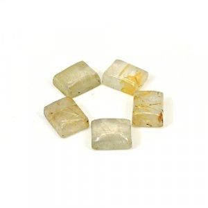 Natural Golden Rutile 9x7mm Rectangle Cabochon 15.50 Cts 5 Pcs Wholesale Lot