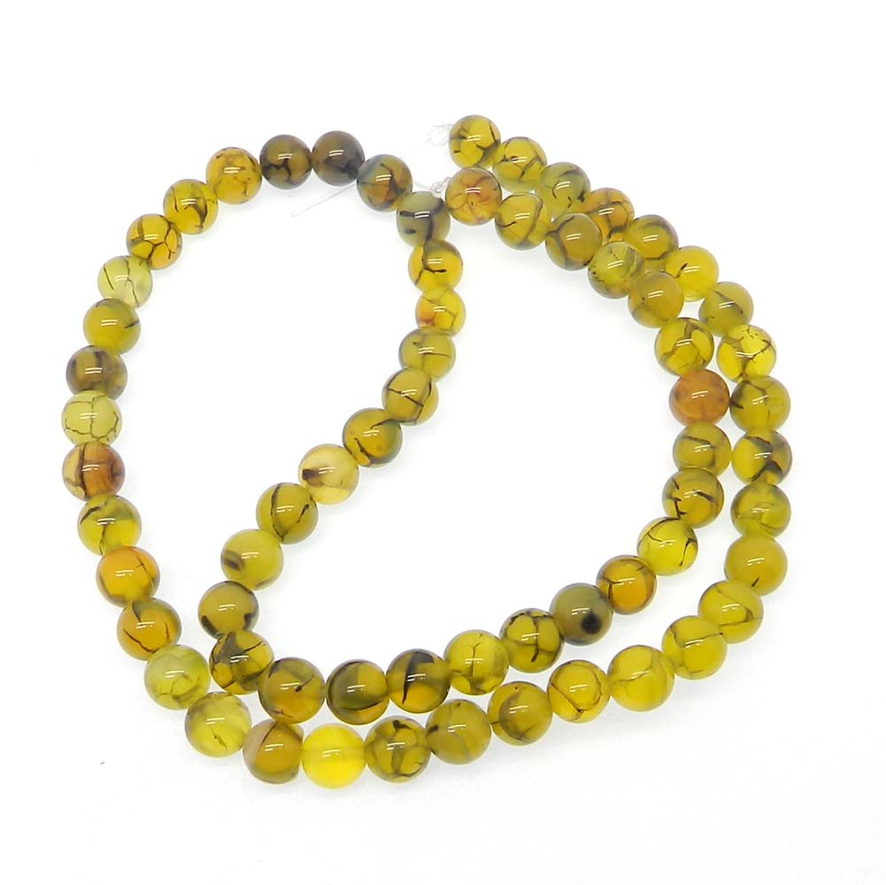 Natural Green Agate 6.5mm Round Smooth Plain 16 inch Strand Beads