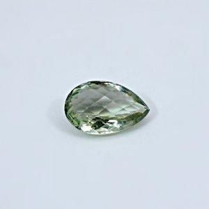 Natural Green Amethyst  12.35 Cts Pear Checker Cut  20x13mm Loose Gemstone