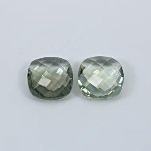 Natural Green Amethyst  6.18 Cts Cushion Briolette Cut 12mm 1 Pair Loose Gemstone