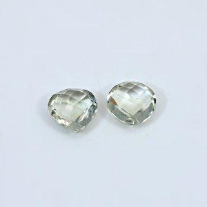 Natural Green Amethyst  6.60 Cts Heart Briolette Cut 10mm 1 Pair Loose Gemstone