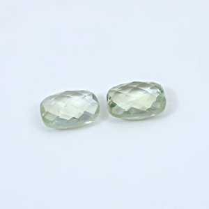Natural Green Amethyst 12.45 Cts Rectangle Cushion Briolette Cut 14x10mm 1 Pair Loose Gemstone