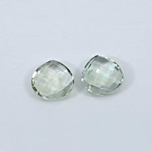 Natural Green Amethyst 12mm Heart Briolette Cut 11.05 Cts 1 Pair Loose Gemstone