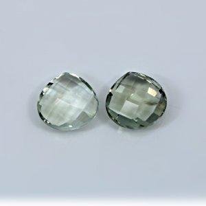 Natural Green Amethyst 12mm Heart Briolette Cut 11.40 Cts 1 Pair Loose Gemstone