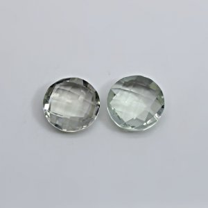 Natural Green Amethyst 12mm Round Briolette Cut 10.55 Cts 1 Pair Loose Gemstone