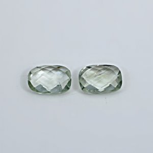 Natural Green Amethyst 14x10mm Rectangle Cushion Briolette Cut 12.25 Cts 1 Pair Loose Gemstone