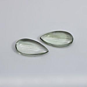 Natural Green Amethyst 14x12mm Pear Cabochon 24.85 Cts 1 Pair Loose Gemstone