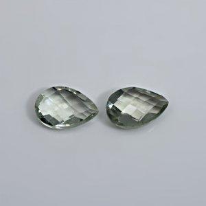 Natural Green Amethyst 15x10mm Pear Briolette Cut 10.55 Cts 1 Pair Loose Gemstone