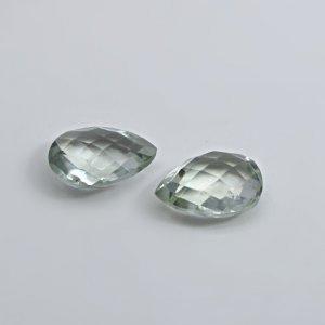 Natural Green Amethyst 16x12mm Pear Briolette Cut 15.05 Cts 1 Pair Loose Gemstone