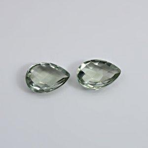 Natural Green Amethyst 16x12mm Pear Checker Cut 14.05 Cts 1 Pair Loose Gemstone