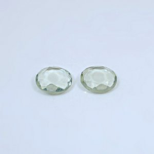 Natural Green Amethyst 5.65 Cts Round Tablet Cut 10mm 1 Pair Loose Gemstone