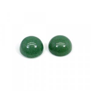 Natural Green Aventurine 10mm Round Cabochon 7.70 Cts 1 Pair Loose Gemstone