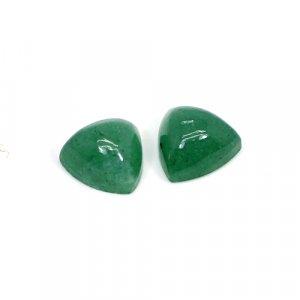 Natural Green Aventurine 10mm Trillion Cabochon 6.95 Cts 1 Pair Loose Gemstone