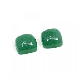 Natural Green Aventurine 12mm Cushion Cabochon 17.70 Cts 1 Pair Loose Gemstone