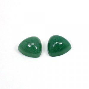 Natural Green Aventurine 12mm Trillion Cabochon 13.40 Cts 1 Pair Loose Gemstone