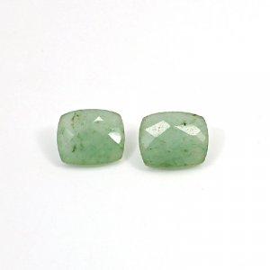 Natural Green Aventurine 12x10mm Cushion Checker Cut 9.55 Cts 1 Pair Loose Gemstone