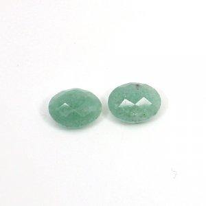 Natural Green Aventurine 12x10mm Oval Briolette Cut 7.35 Cts 1 Pair Loose Gemstone