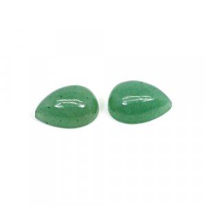 Natural Green Aventurine 16x12mm Pear Cabochon 18.35 Cts 1 Pair Loose Gemstone