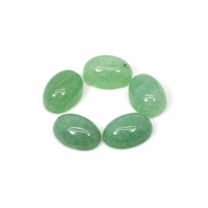 Natural Green Aventurine 32 Cts Oval Cabochon 14x10mm 5 Pcs Wholesale Lot