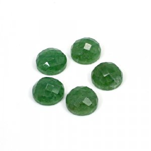 Natural Green Aventurine 9mm Round Checker Cut 15 Cts 5 Pcs Loose Gemstone