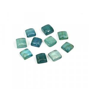Natural Green Fluorite 6x6mm Square Cabochon 16 Cts 10 Pcs Lot Loose Gemstone