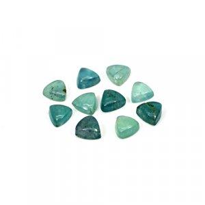 Natural Green Fluorite 6x6mm Trillion Cabochon 8.5 Cts 10 Pcs Lot Loose Gemstone