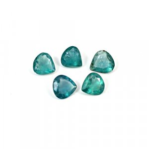 Natural Green Fluorite 8x8mm Heart Cut 10.5 Cts 5 Pcs Lot Loose Gemstone