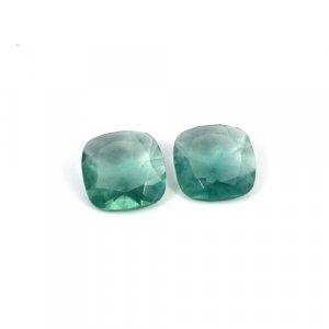Natural Green Fluorite Cushion Cut 1 Pair 23.85 Cts 15x15mm Loose Gemstone