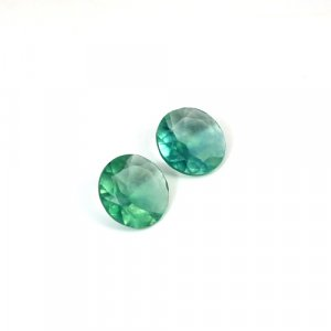 Natural Green Fluorite Round Cut 1 Pair 20 Cts 15x15mm Loose Gemstone