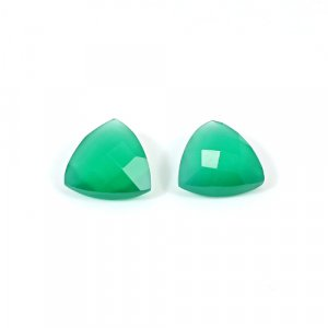 Natural Green Onyx 14mm Trillion Briolette Cut 14.50 Cts 1 Pair Loose Gemstone