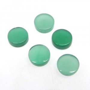 Natural Green Onyx 7.5mm Round Tablet Cabochon 1.45 Cts