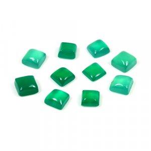 Natural Green Onyx Cushion Cabochon 0.95 Cts 5x5mm Loose Gemstone