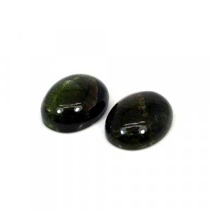 Natural Green Tiger Eye Oval Cabochon 1 Pair 20x15mm 39 Cts Loose Gemstone