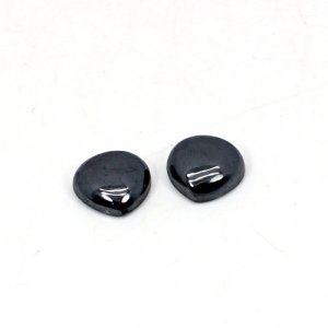 Natural Hematite 10x10mm Heart Cabochon 9.10 Cts 1 Pair  Loose Gemstone