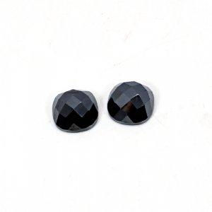 Natural Hematite 12x12mm Cushion Checkerboard Cut 24.25 Cts 1 Pair Loose Gemstone
