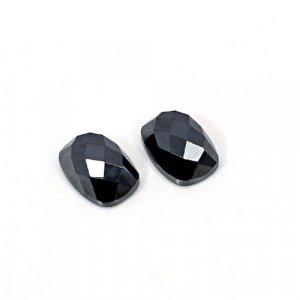 Natural Hematite 14x10mm Cushion Checkerboard Cut 26.45 Cts 1 Pair Loose Gemstone