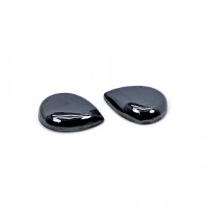 Natural Hematite 16x12mm Pear Cabochon 22.10 Cts 1 Pair Loose Gemstone