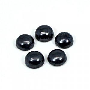 Natural Hematite 5 Pcs Lot 8mm Round Cabochon 15.65 Cts Loose Gemstone