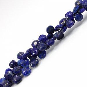 Natural Lapis Lazuli 5x5mm Heart Briolette Cut Beads 8 Inch Strand