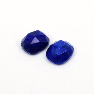 Natural Lapis Lazuli Cushion Rose Cut 2 Pcs Lot 12x10mm 11 Cts Loose Gemstone