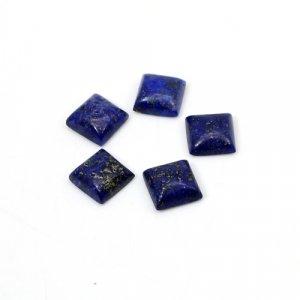 Natural Lapis Lazuli Square Cabochon 7mm 10.10 Cts 5 Pcs Lot  Loose Gemstone