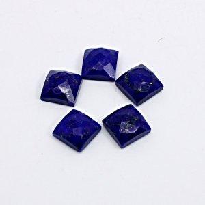 Natural Lapis Lazuli Square Checker Cut 5 Pcs Lot 8x8mm 15 Cts Loose Gemstone