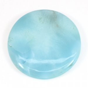 Natural Larimar 32x32mm Round Cabochon 54.50 Cts