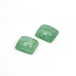 Natural Light Green Aventurine 12x10mm Rectangle Cabochon 16.15 Cts 1 Pair Loose Gemstone