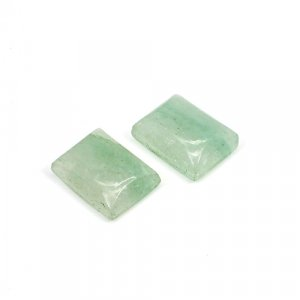 Natural Light Green Aventurine 16x12mm Rectangle Cabochon 22.65 Cts 1 Pair Loose Gemstone